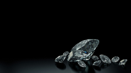 Luxury diamonds on black backgrounds