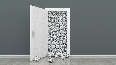 futbol infantil: puerta con el bal�n de f�tbol Foto de archivo
