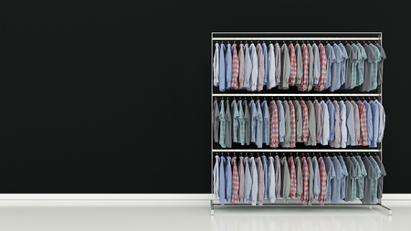 closet rod: Choice of clothes of different colors Stock Photo