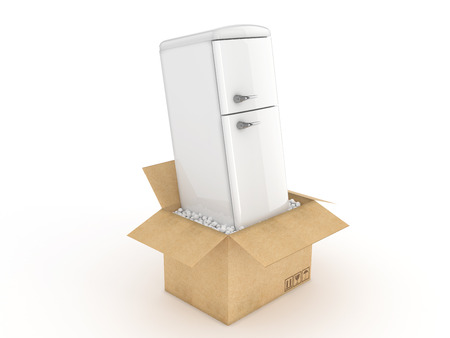 refrigerator: Refrigerator in cardboard box