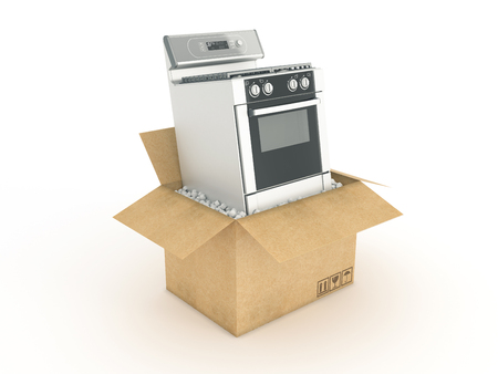 electric stove: electric stove in cardboard box