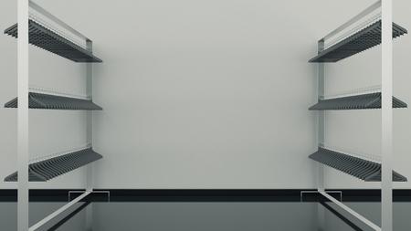 the shelf: clothes shelf empty, 3D rendering