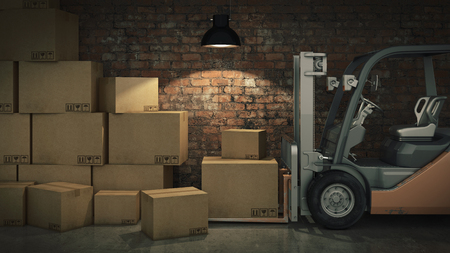 Forklift truck or storage in warehouse loading cardboard boxes. 3d