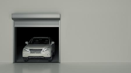 Opened with Garage Door Roller. 3D Rendering 版權商用圖片