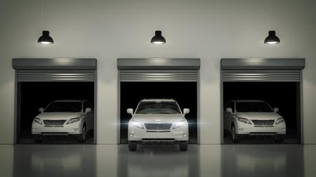 ceiling plate: Opened with Garage Door Roller. 3D Rendering Stock Photo