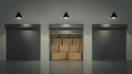 シャッター ドアまたは圧延のドアと段ボール ボックス 3 D 写真素材
