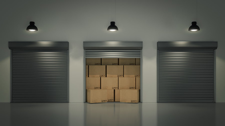 Shutter door or rolling door with cardboard boxes 3D