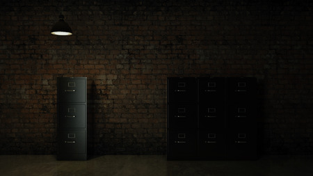 file cabinet: 3d image renderer. File cabinet. Search concept.