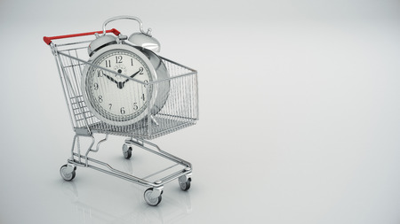 Shopping cart with clock 版權商用圖片