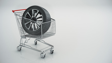 shopping cart with car wheel isolated