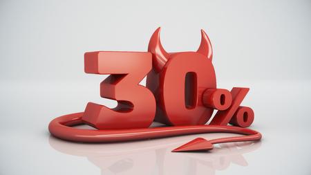 30: 30 percent red devil Stock Photo