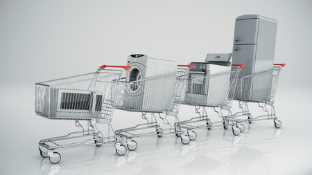 home store: Home appliances in the shopping cart. E-commerce or online shopping concept. Stock Photo