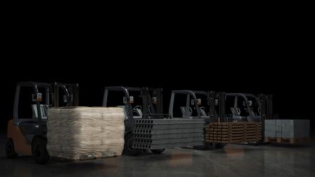 Carrello elevatore con materiali da costruzione