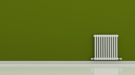 Radiator on a wall in an empty room, 3D render 版權商用圖片