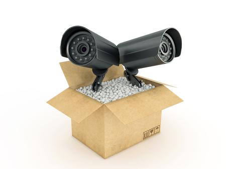 Surveillance Camera in cardboard box Stock Photo