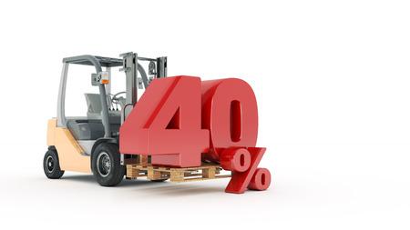 40 percent, 3d render