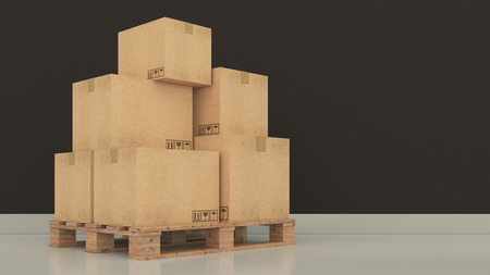 processions: Boxes in empty room 3D