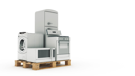technics: Home appliances. Set of household kitchen technics isolated on white. Fridge, gas cooker, microwave oven and washing machine. 3d Stock Photo