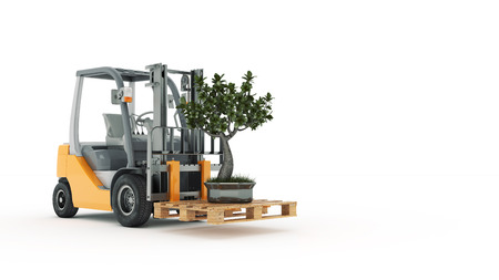 small articles: Modern forklift truck with small tree