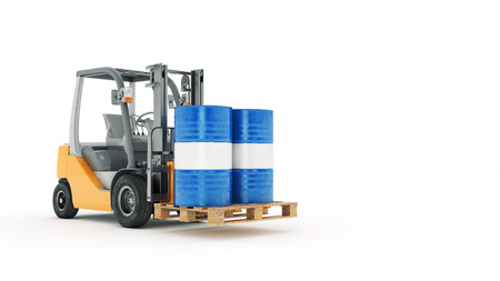 counterbalanced: Modern forklift truck with metal barrel