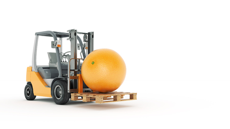 counterbalanced: Modern forklift truck with orange