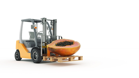 Modern forklift truck with papaya