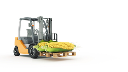 counterbalanced: Modern forklift truck with corn