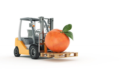 counterbalanced: Modern forklift truck with tangerine