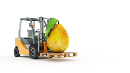 counterbalanced: Modern forklift truck with pear Stock Photo