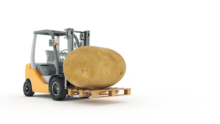 Modern forklift truck with potato 版權商用圖片