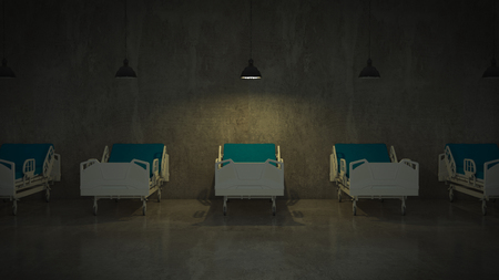 sanitarium: hospital bed in a room Stock Photo