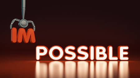 Transformed word impossible into possible. Motivation philosophy concept.Concepts of problem solving, Overcoming challenges and success.