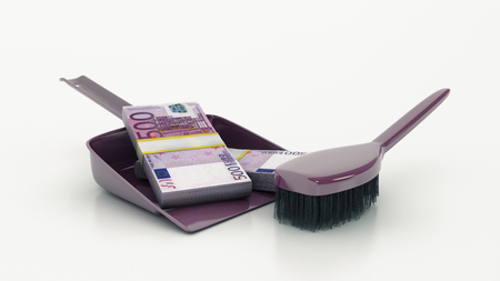 wastebasket: Cleaning concept. dustpan or scoop and brush. 3d Stock Photo
