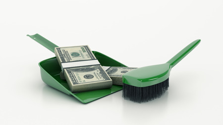 Cleaning concept. dustpan or scoop and brush. 3d Stock Photo