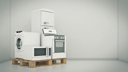 technics: Home appliances. Set of household kitchen technics. Fridge, gas cooker, microwave oven and washing machine. 3d