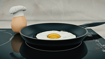 3d chef: chef egg. concept cook. 3d rendering