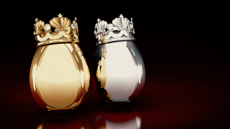 close range: Gold and silver eggs. 3D rendering