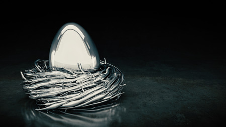 Silver easter egg. 3D rendering