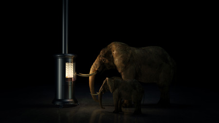humidifier: Good indoor climate concept. animals taking heat. 3D rendering