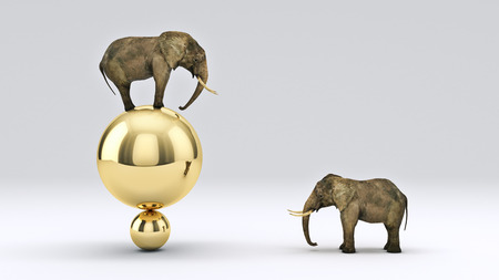 appears: elephant and ball. 3D rendering