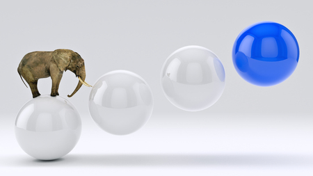 3d ball: elephant and ball. 3D rendering