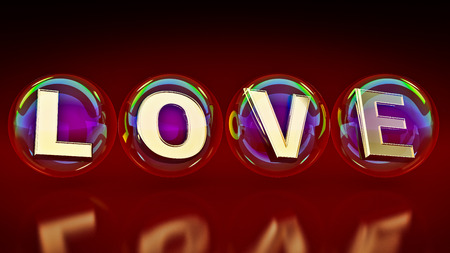 natures: bubbles with the word love. 3d rendering