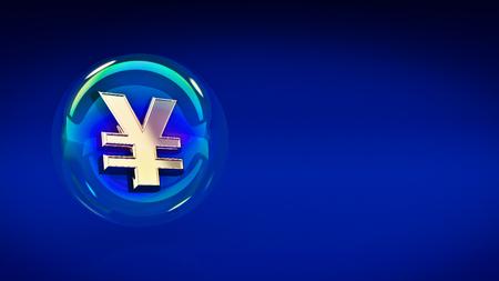 yuan: yen yuan symbol in bubble. 3d rendering Stock Photo