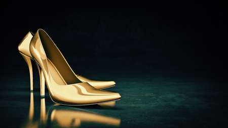 lose-up of female high-heeled shoes. 3d rendering
