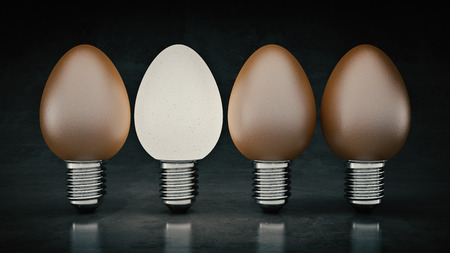Funny and crazy egg looking like electric bulb. 3d rendering Stock Photo