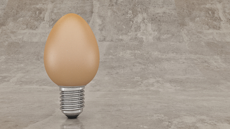 electric bulb: Funny and crazy egg looking like electric bulb. 3d rendering Stock Photo