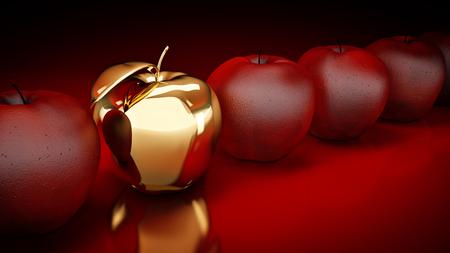 rendering: Gold apple. 3d rendering