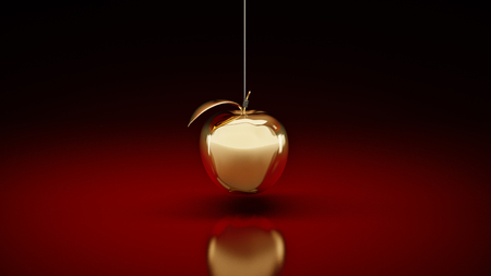 Gold apple. 3d rendering