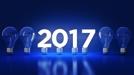 2017 New Year sign inside light bulbs. 3D rendering 版權商用圖片