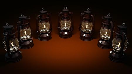 outmoded: Burning kerosene lamp background, lighting concept. 3d rendering